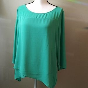The Limited Tops - The Limited Flowing Layered Spring Blouse Green XL